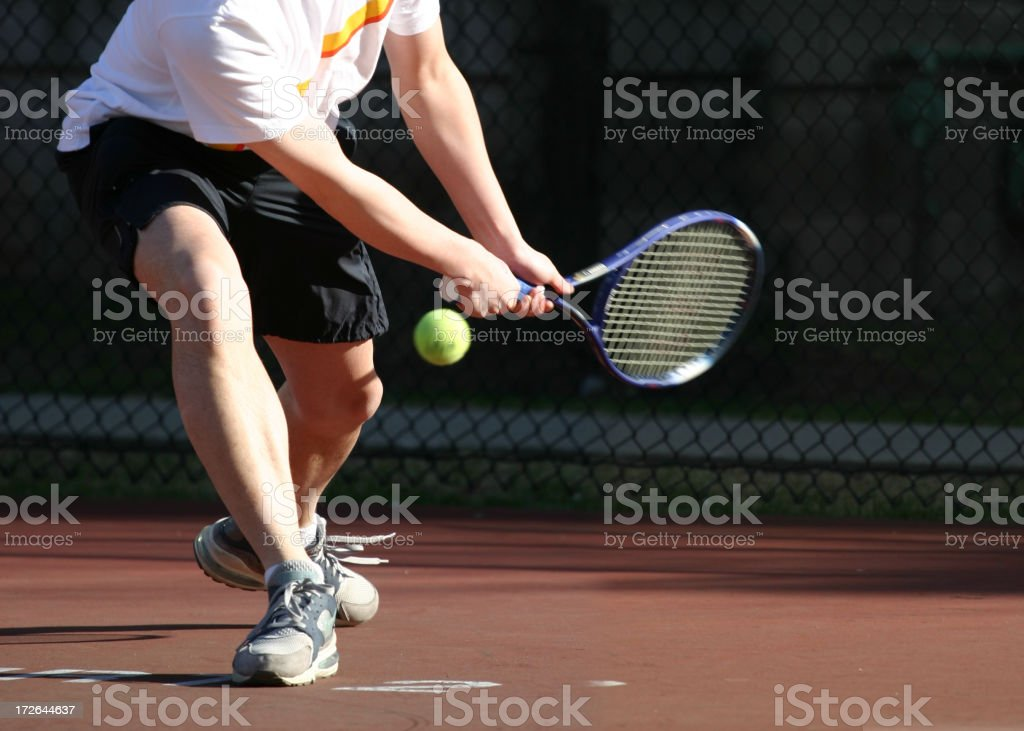 Hitting the tennis stock photo