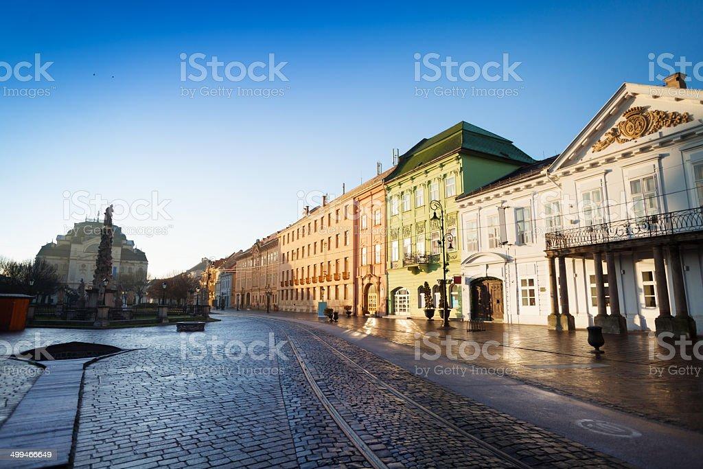 Hlavna street in sunshine, Kosice, Slovakia stock photo