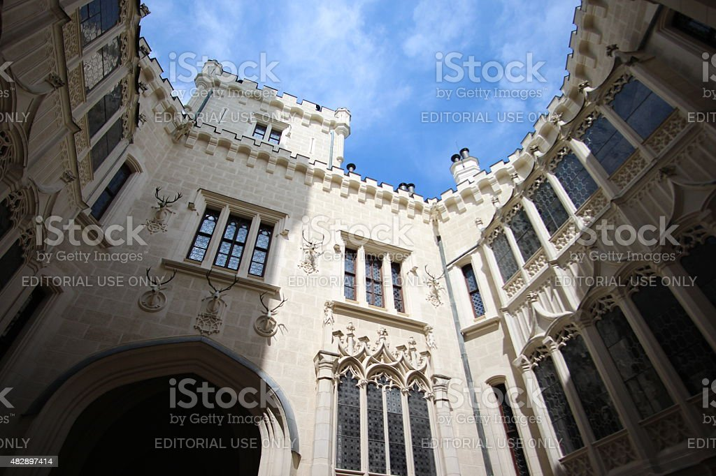 Hluboka Castle Courtyard stock photo