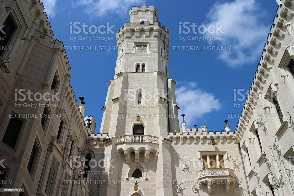 Hluboka Castle Tower as seen from courtyard stock photo