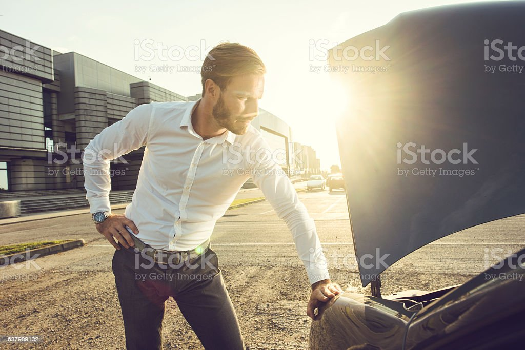Hmm, what should I do with my car now? stock photo