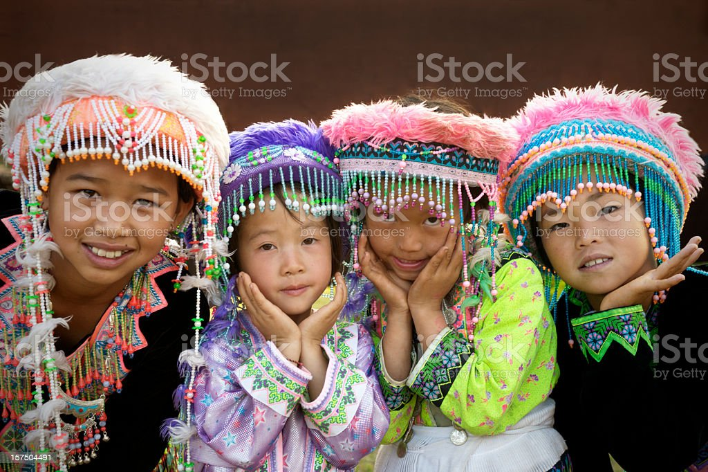 Hmong Hill Tribe Girls stock photo