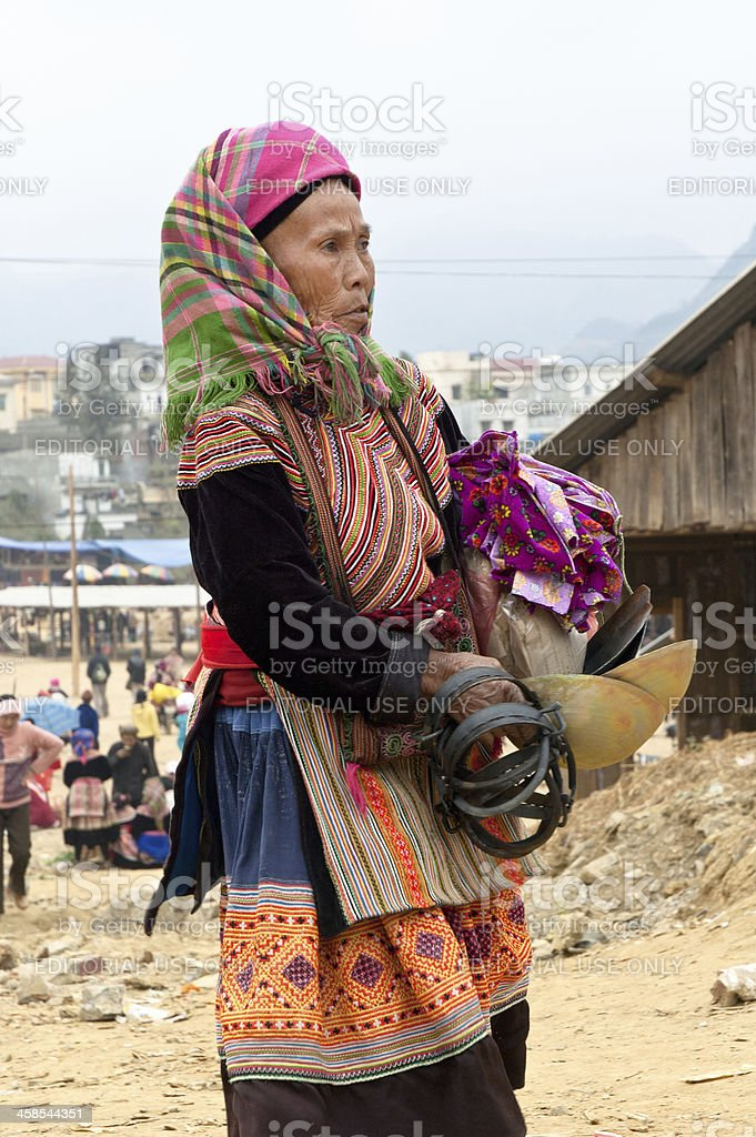 Hmong Woman At Bac Ha Market In Vietnam royalty-free stock photo