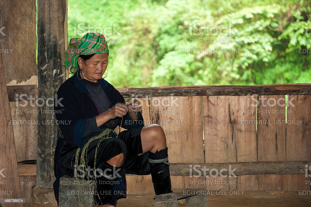 Hmong woman at her house stock photo