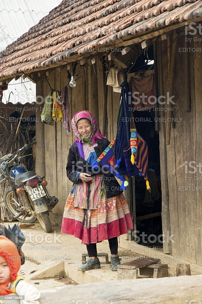 Hmong Woman Near Sapa In Vietnam stock photo