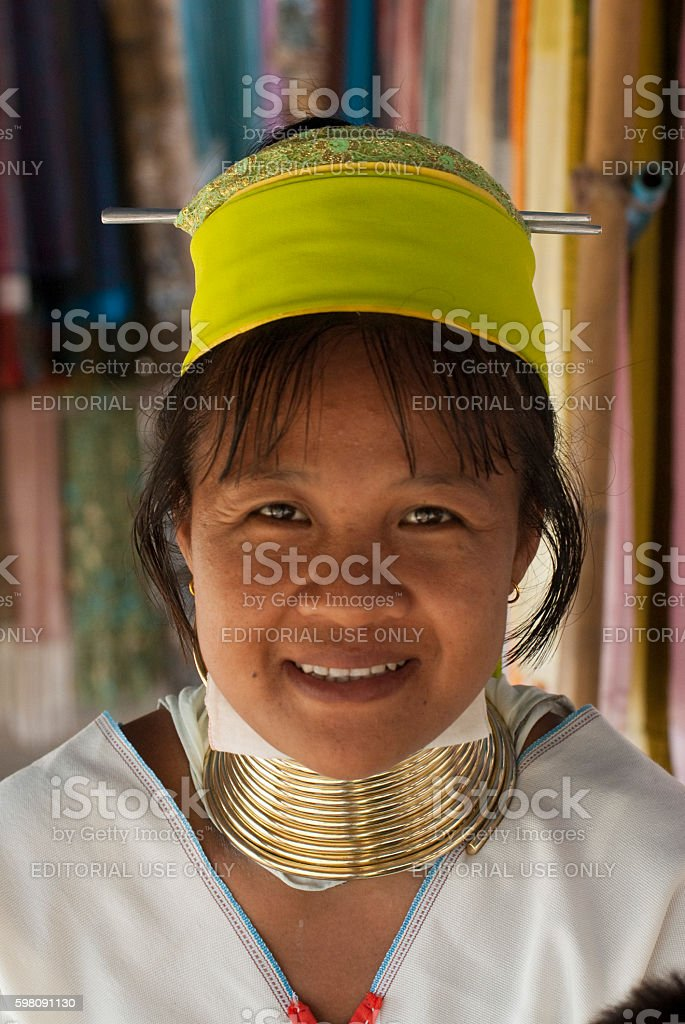 Hmong woman with traditional neck rings and hat stock photo