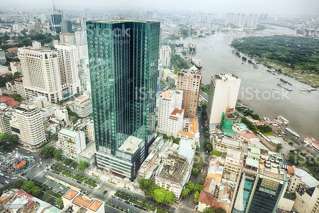Ho Chi Minh City aerial view stock photo