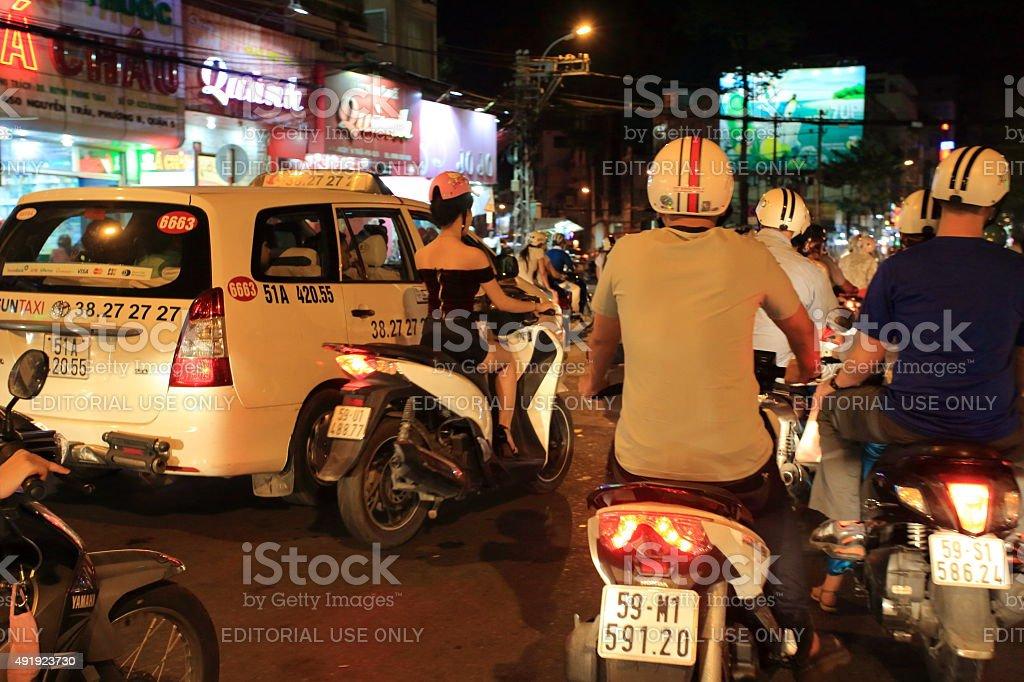 Ho Chi Minh City heavy traffic stock photo