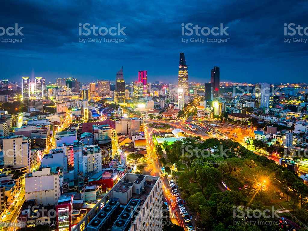 Ho Chi Minh City in Vietnam at night stock photo