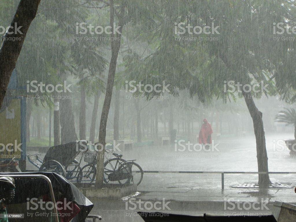Ho Chi Minh City on a very rainy day. stock photo