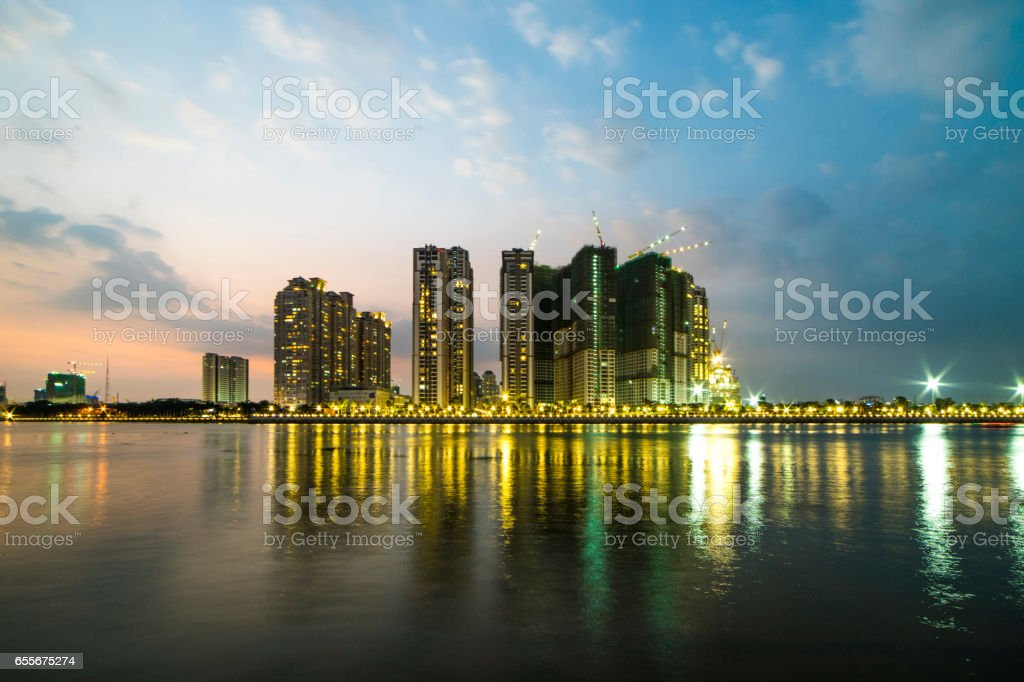 Ho Chi Minh city over the sunset. stock photo