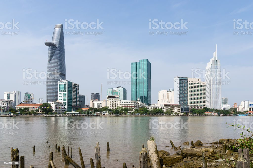 Ho Chi Minh city riverside view in the morning stock photo