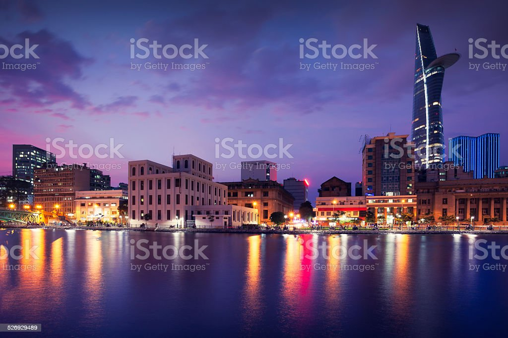 Ho Chi Minh City skyline by night stock photo