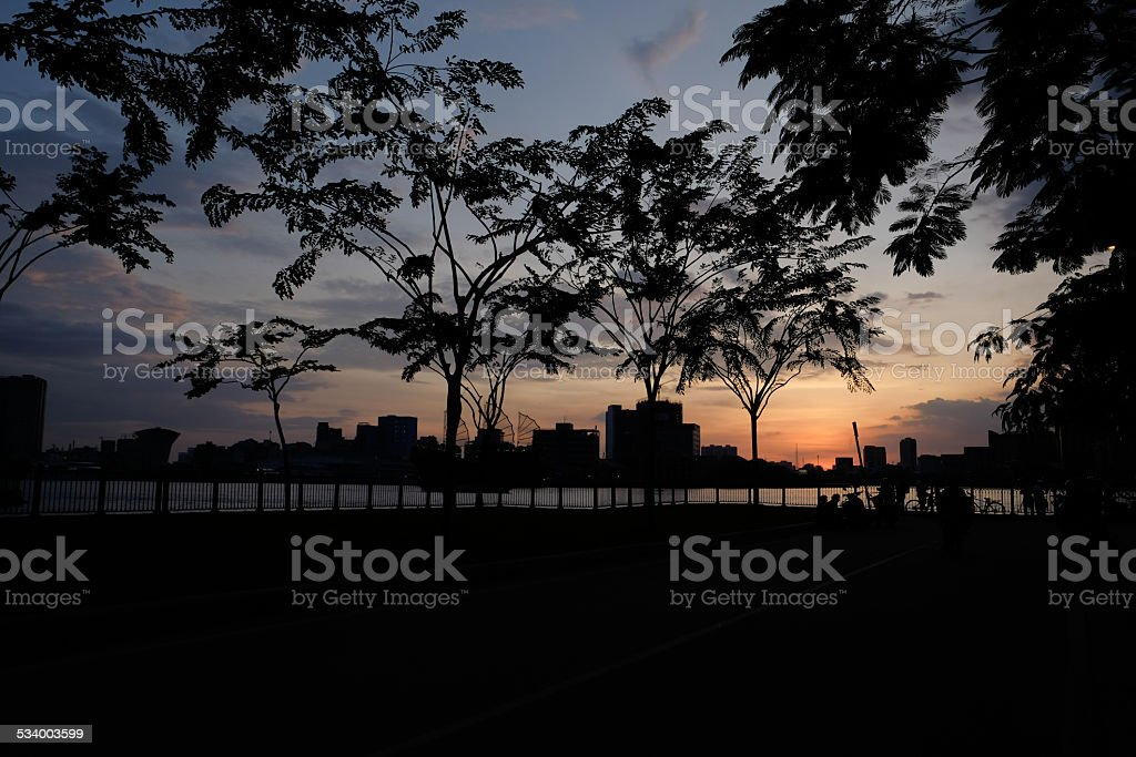 Ho Chi Minh city, Thu Thiem in sunset. royalty-free stock photo