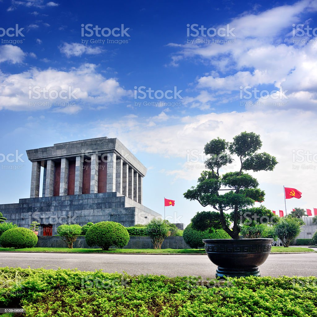 Ho Chi Minh Mausoleum in Hanoi stock photo