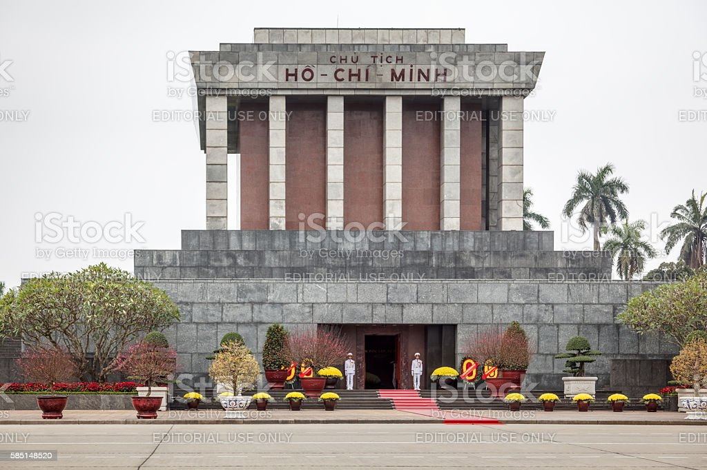 Ho Chi Minh mausoleum with guards of honor stock photo