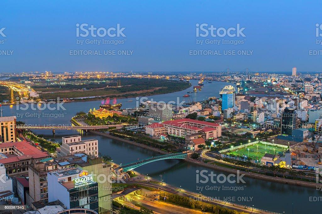 Ho Chi Minh Riverside cityscape night view stock photo