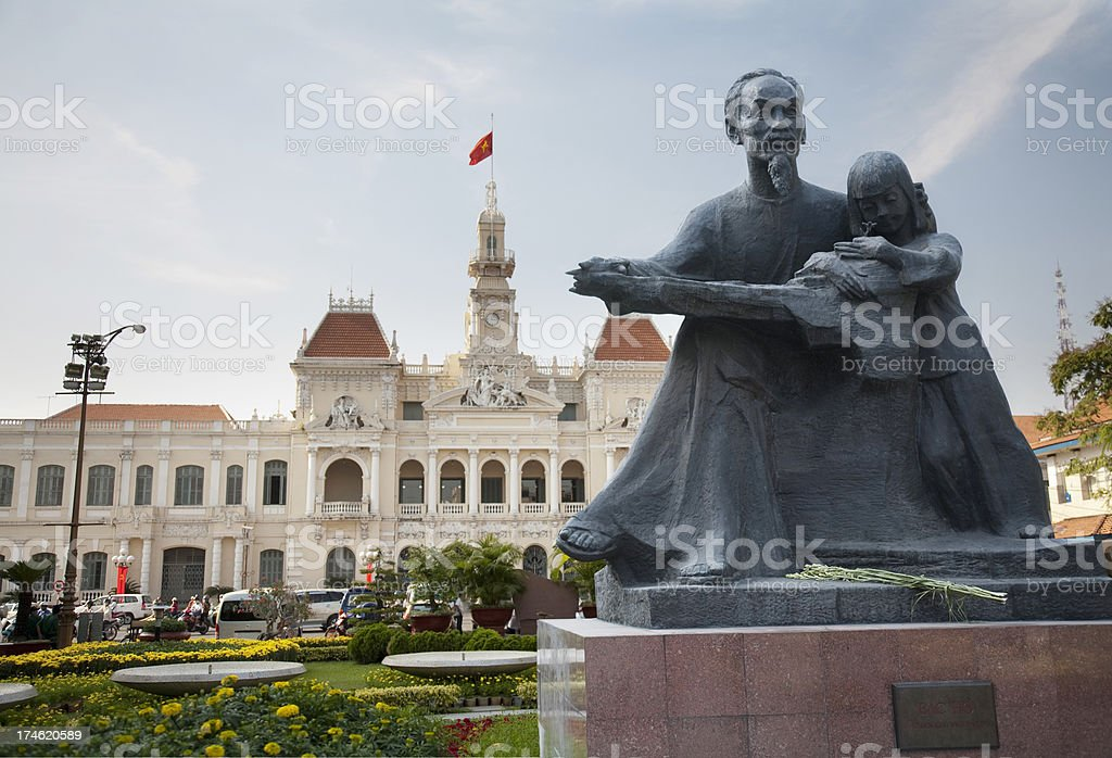 Ho Chi Minh statue and City Hall in HCMC stock photo