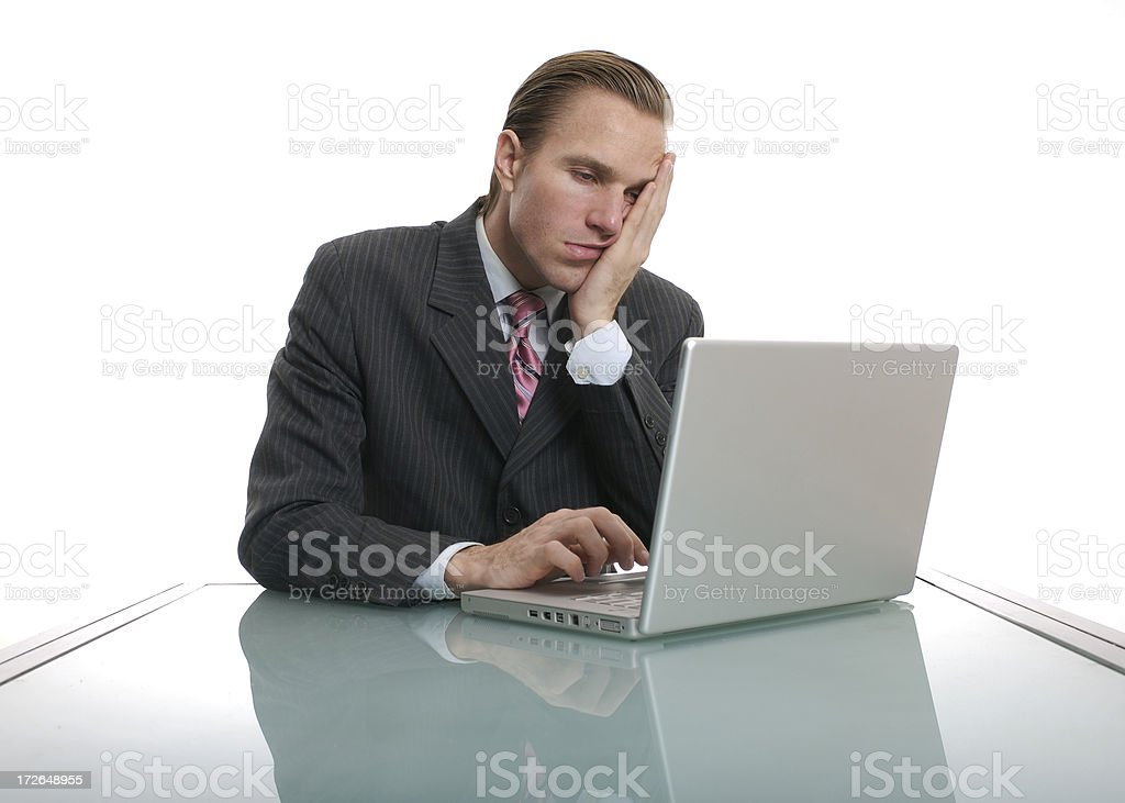 Ho Hummm Bored Office Worker Businessman Sitting at Desk royalty-free stock photo