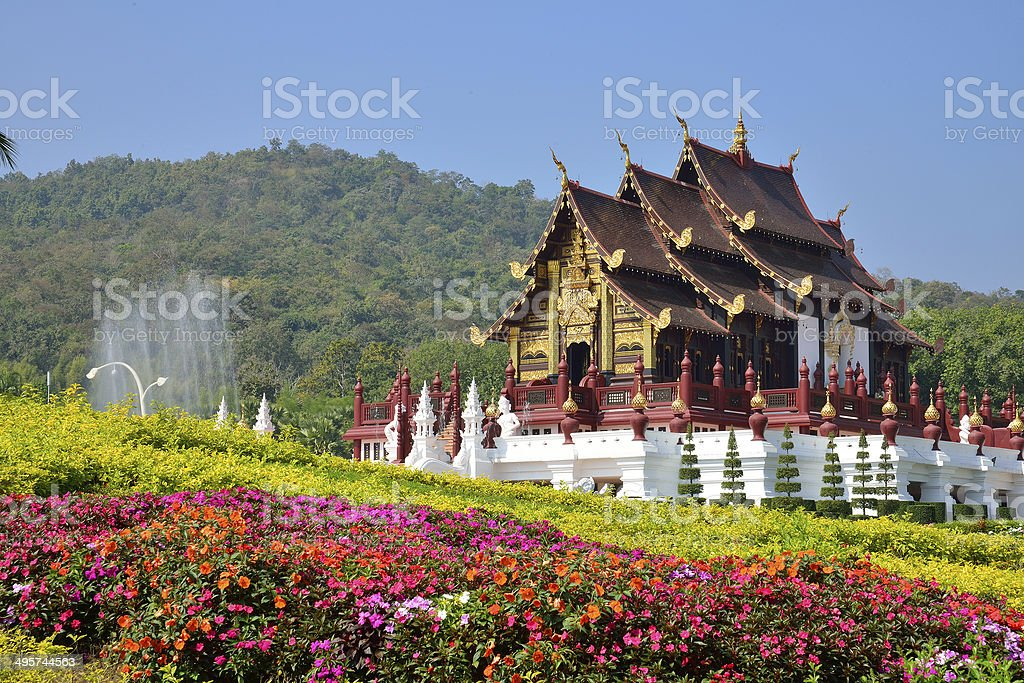 Ho Kham Luang at Royal Flora Expo, traditional thai architecture royalty-free stock photo