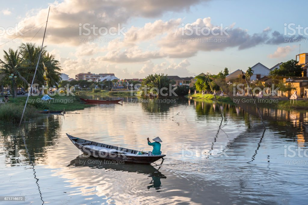 Hoai river in ancient Hoian town stock photo