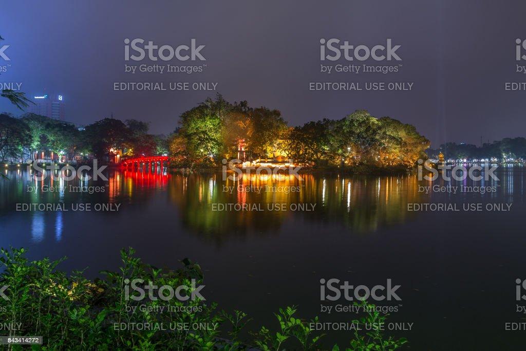 Hoan Kiem in Hanoi at night stock photo