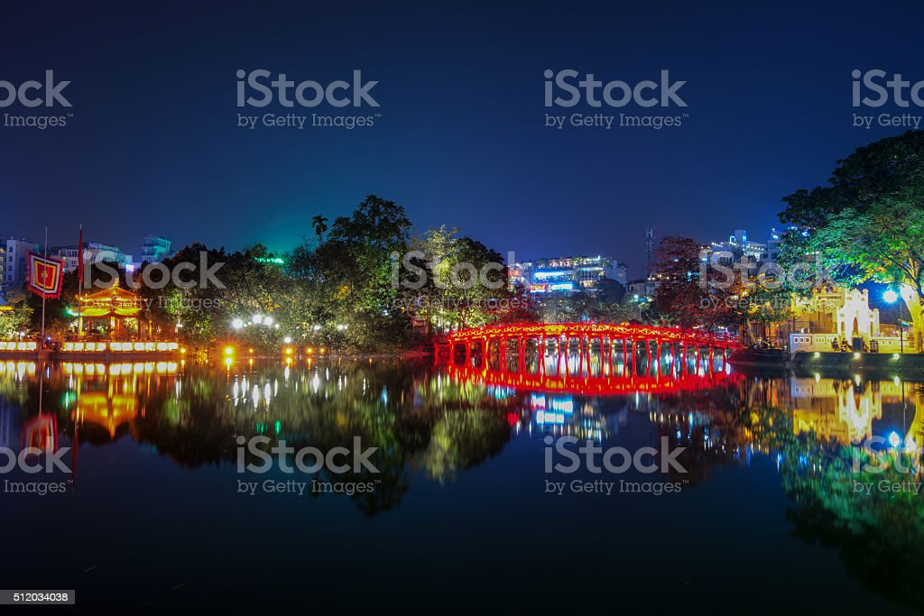 Hoan Kiem Lake at night in Hanoi Vietnam stock photo