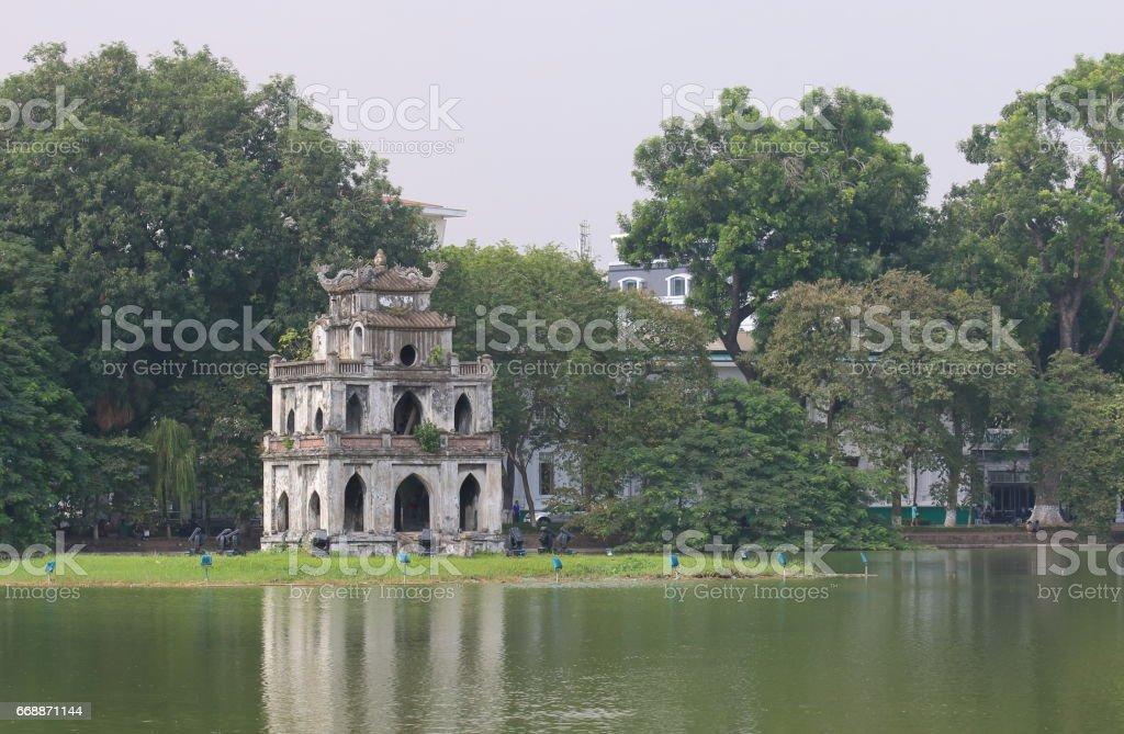 Hoan Kiem lake cityscape in Hanoi Vietnam stock photo