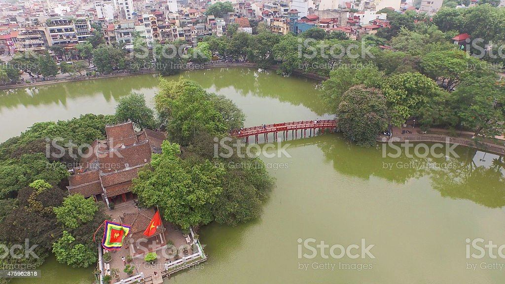 Hoan Kiem Lake Hanoi stock photo