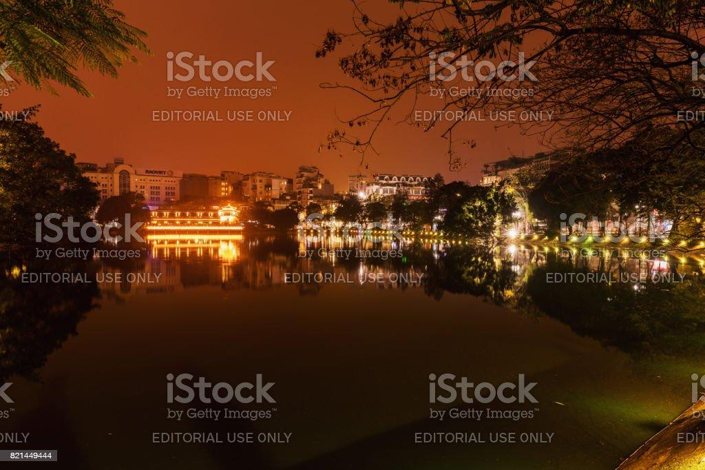 Hoan Kiem Lake, Hanoi, Vietnam. Night view. This is a lake in the historical center of Hanoi, the capital city of Vietnam stock photo
