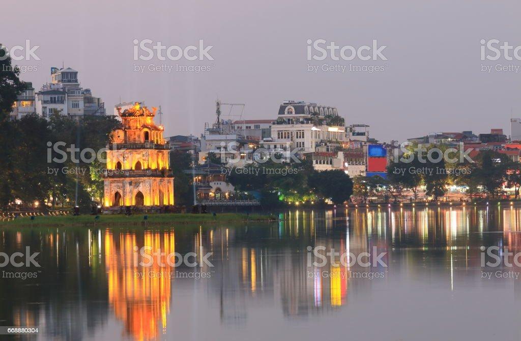 Hoan Kiem lake night cityscape Hanoi Vietnam stock photo