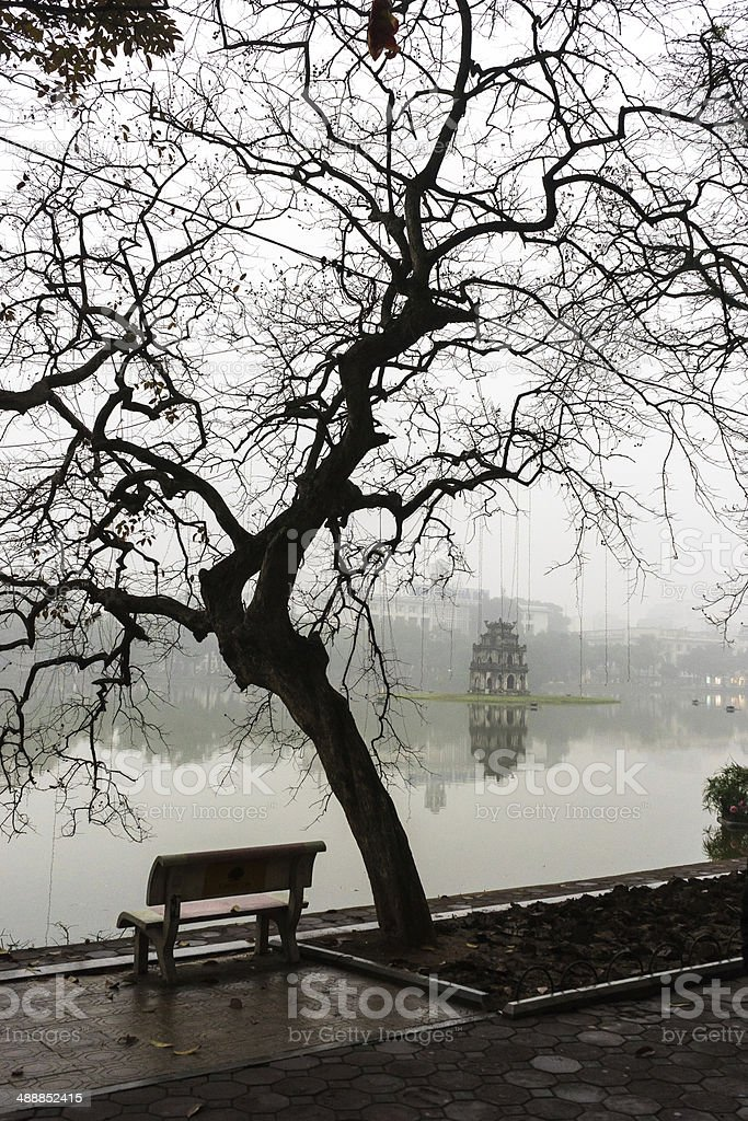 Hoan Kiem Lake stock photo