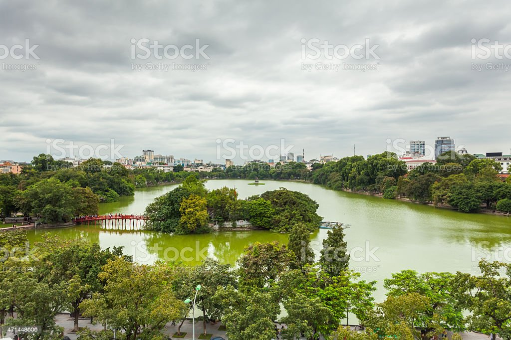 Hoan Kiem Lake, Vietnam stock photo