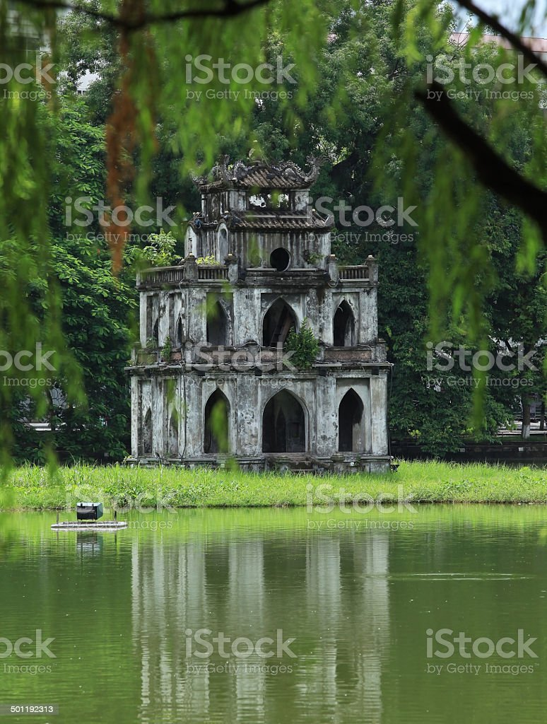 Hoan Kiem's Tortoise Tower, Hanoi stock photo