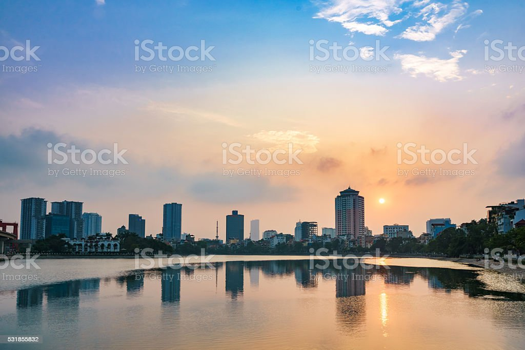 Hoang Cau Lake - Hanoi Cityscape stock photo