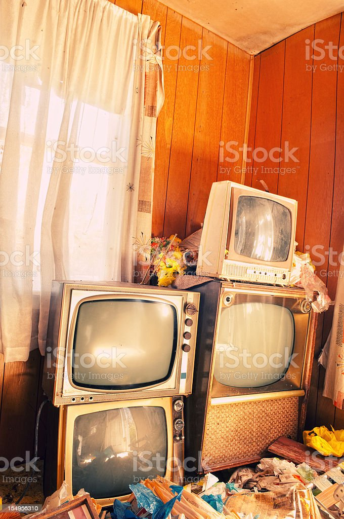 Hoarding Televisions stock photo