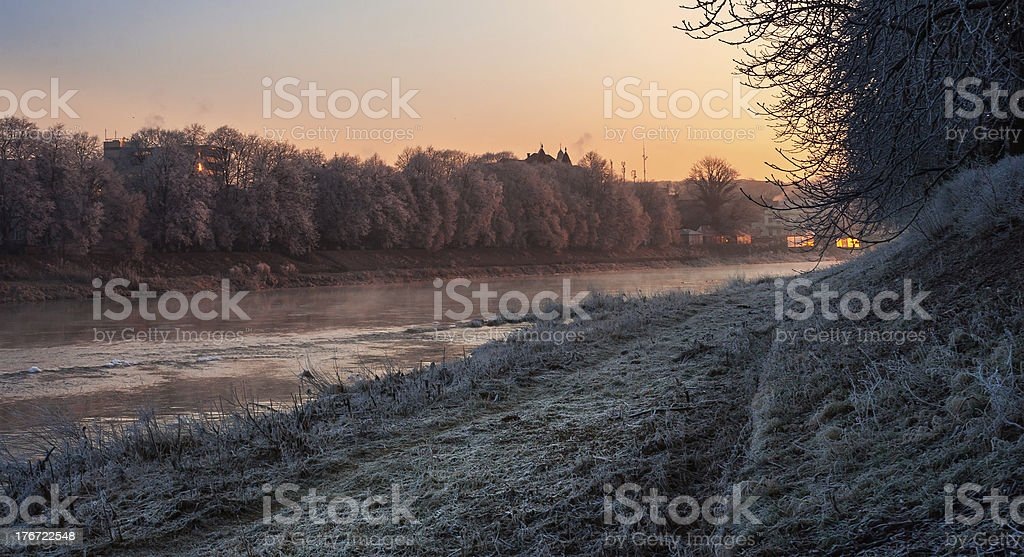 hoarfrost on a winter morning royalty-free stock photo