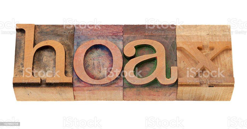 hoax - word in letterpress type stock photo