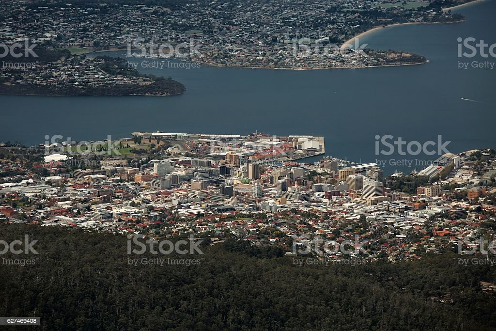 Hobart from above stock photo