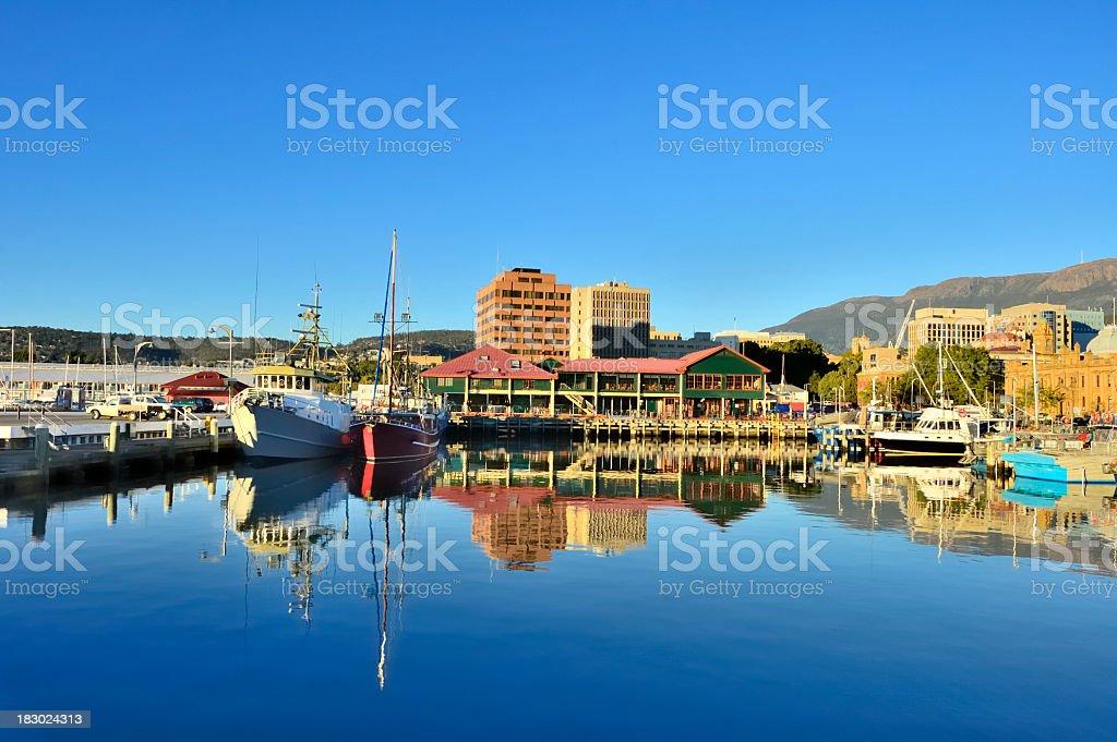 Hobart Marina In Morning stock photo