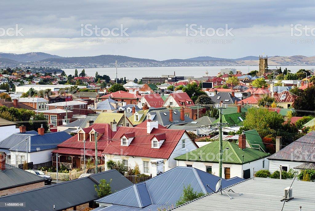 Hobart rooftops, Tasmania, Australia stock photo