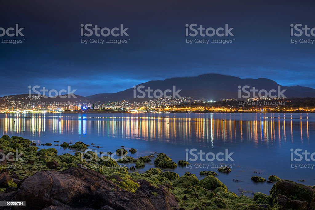 Hobart Tasmania City Reflections Night Australia stock photo