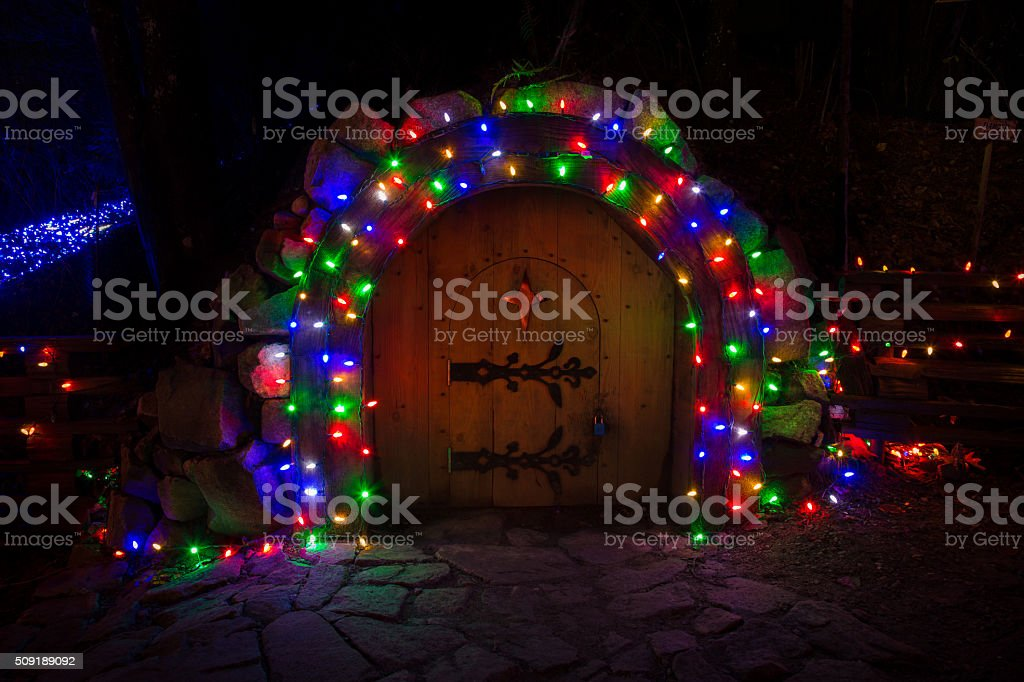 Hobbit Christmas door stock photo