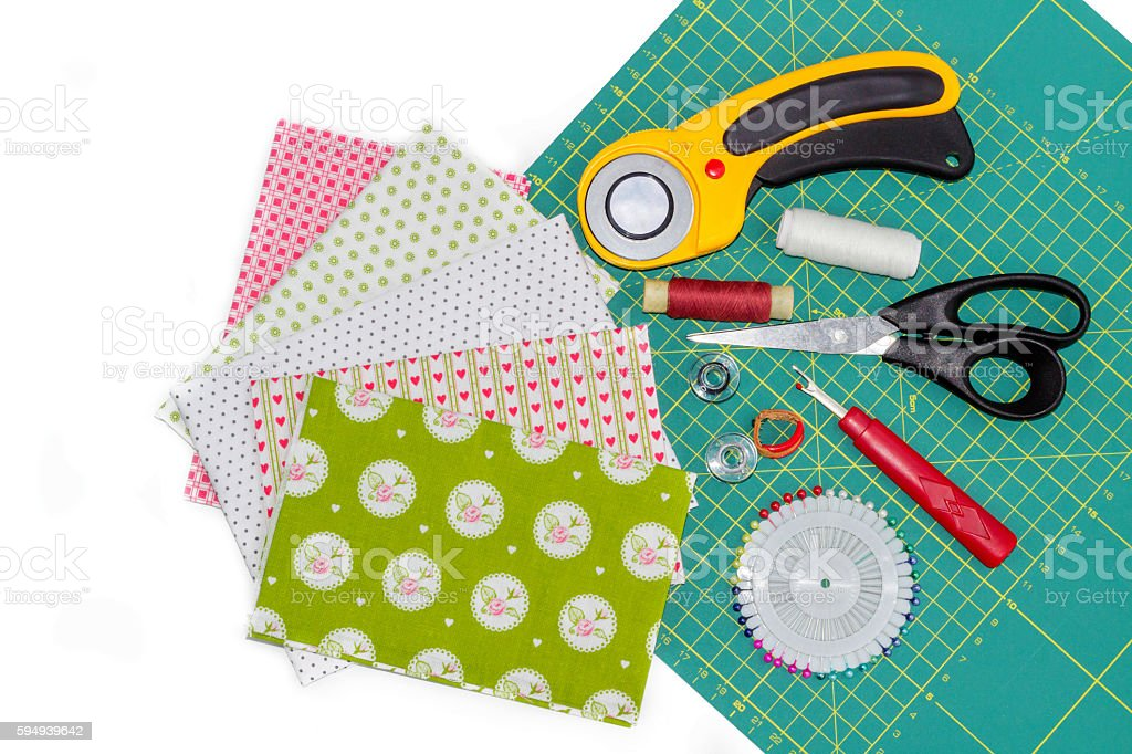 Hobby composition of instruments, items and fabrics for quilting stock photo