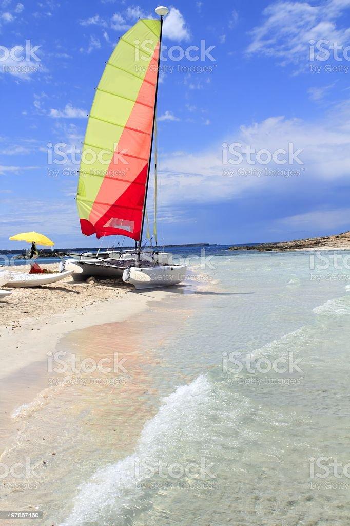 Hobie cat catamaran formentera beach Illetas stock photo