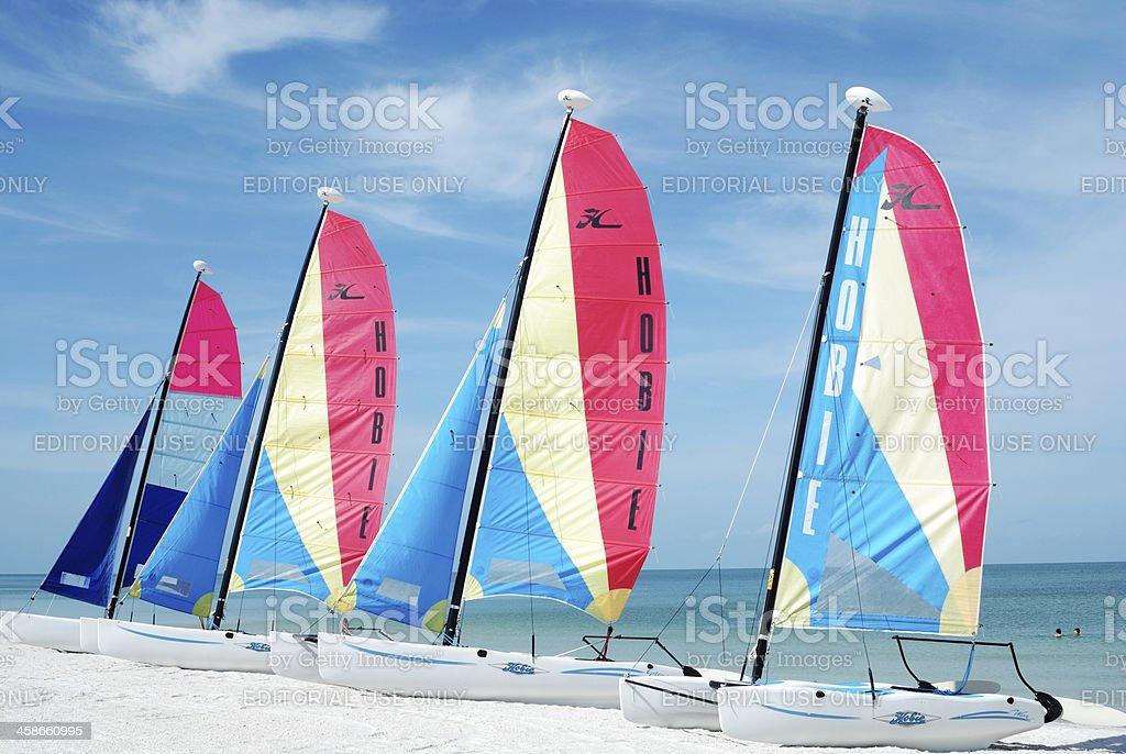 Hobie Cat Sailboats on beach. Marco Island, Florida, USA stock photo