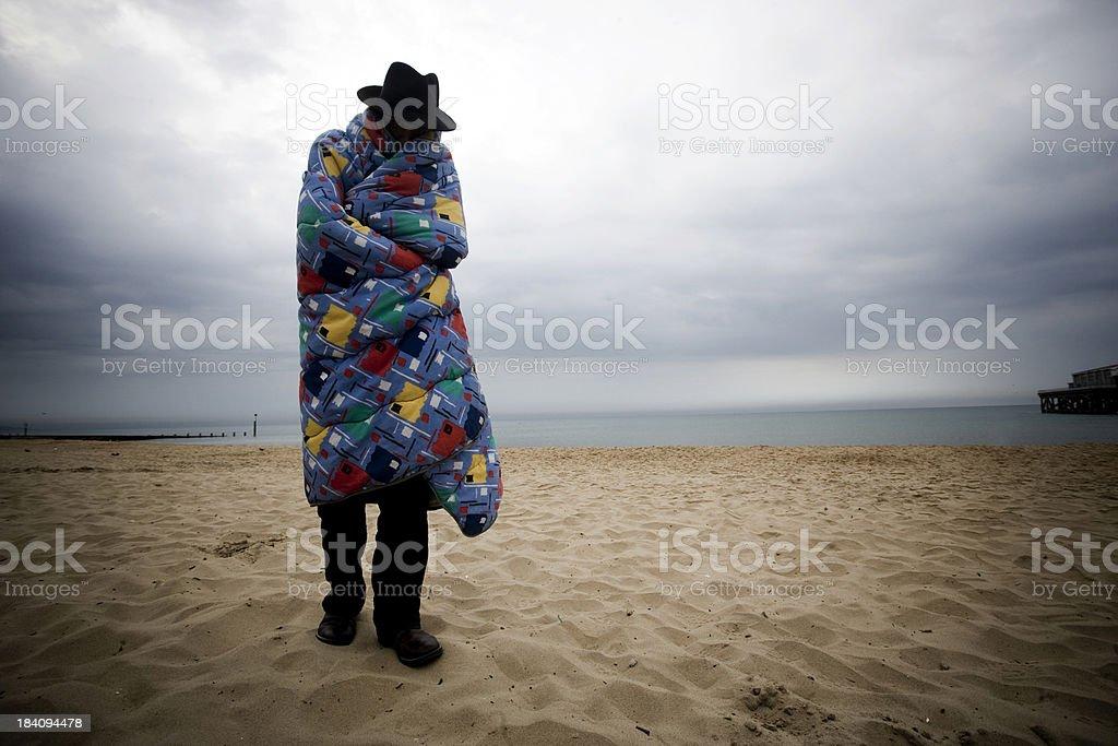 Hobo on the Beach royalty-free stock photo