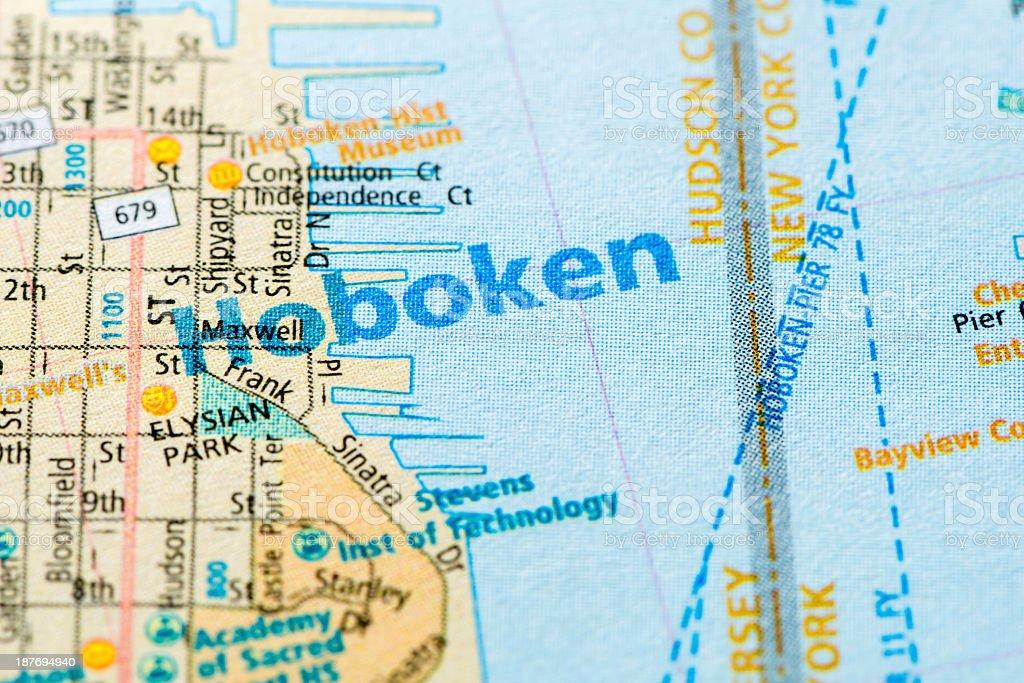 Hoboken - New York map detail stock photo