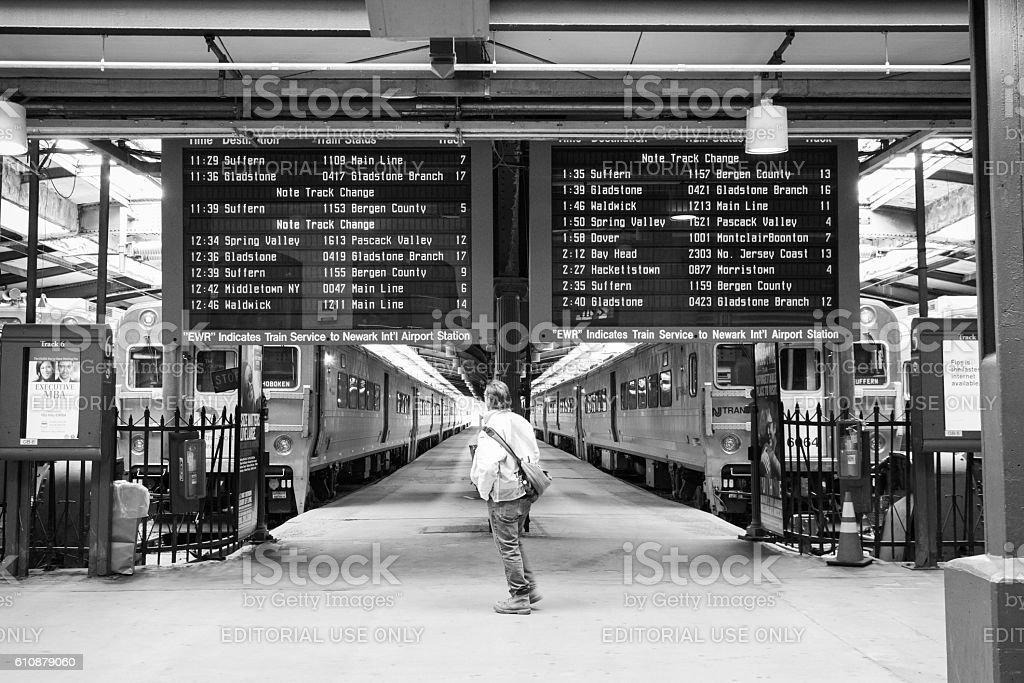 Hoboken Terminal Commuter stock photo