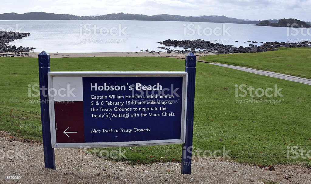 Hobsons Beach Landing Point, Waitangi, New Zealand stock photo